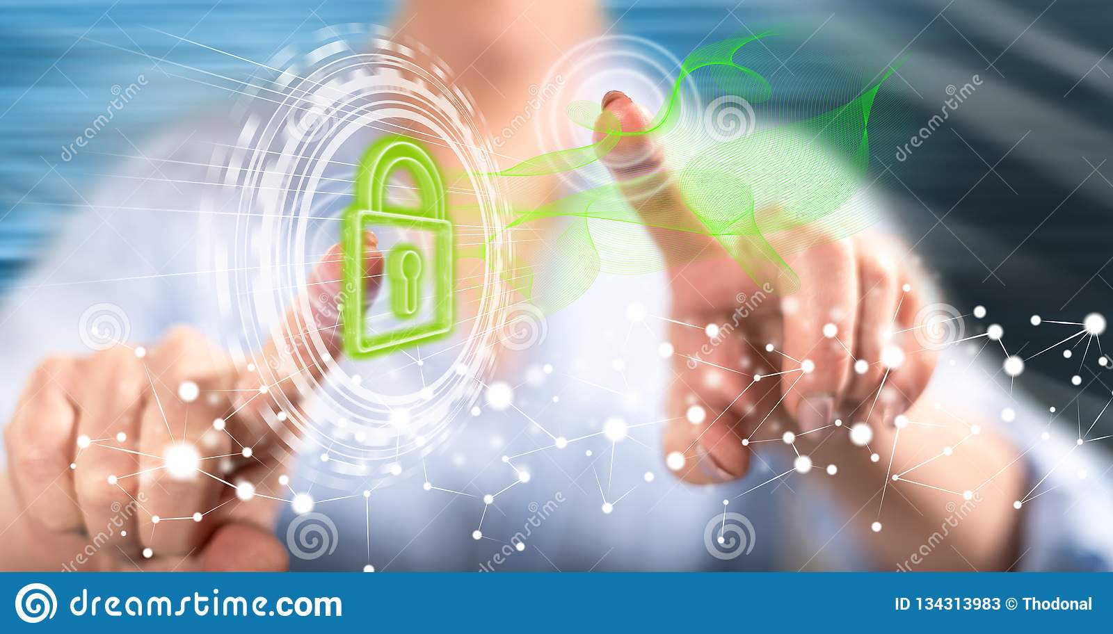 Woman touching a digital security concept