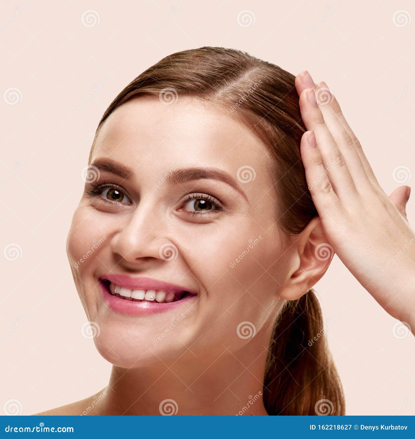 Woman touching hair stock image. Image of fresh, beauty