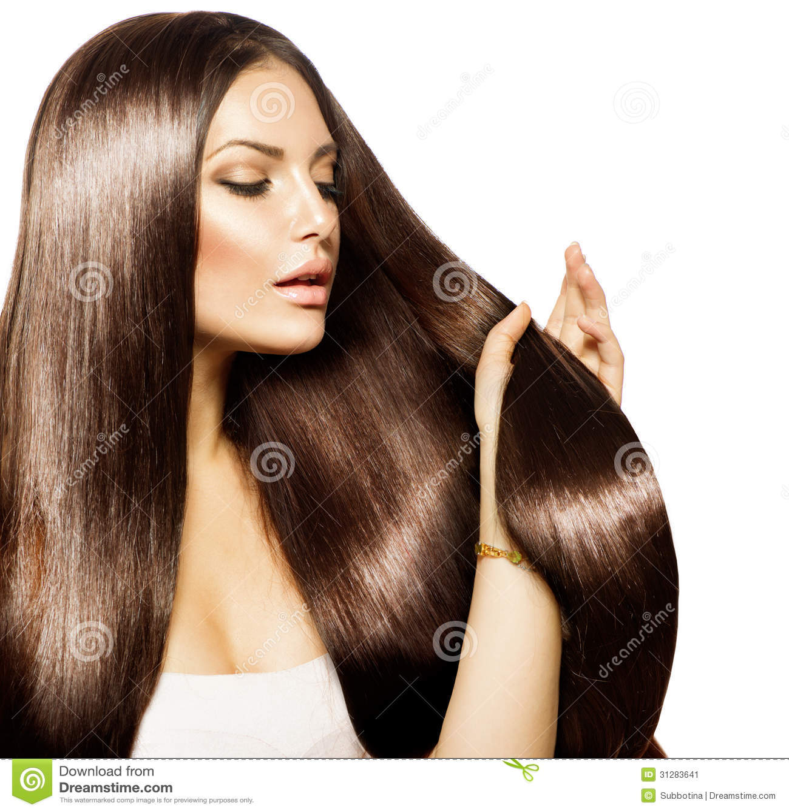 Woman Touching Her Long Hair Stock Image Image 31283641