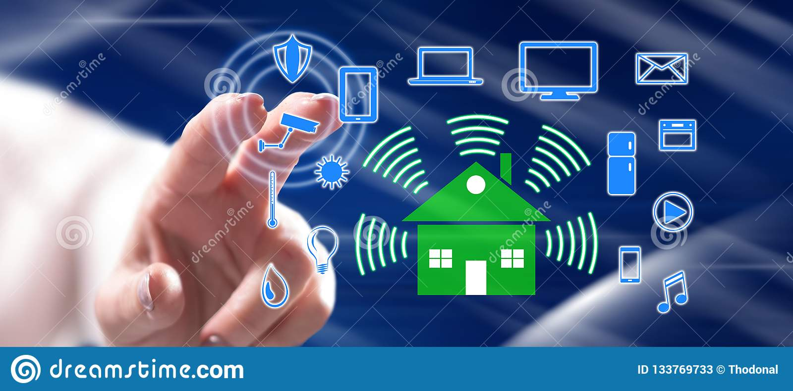 Woman touching a smart home concept