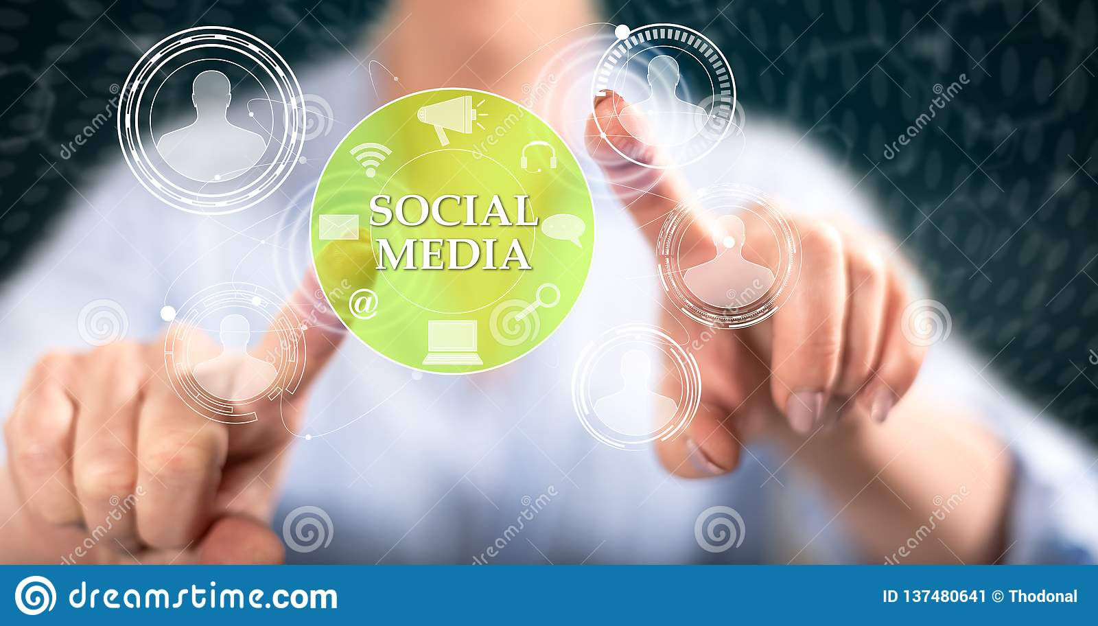 Woman touching a social media concept. On a touch screen with her fingers stock image