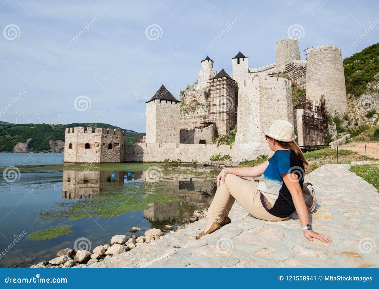 Travel Destination Serbia Woman Tourist Stock Image Image Of Danube Architecture 121558941