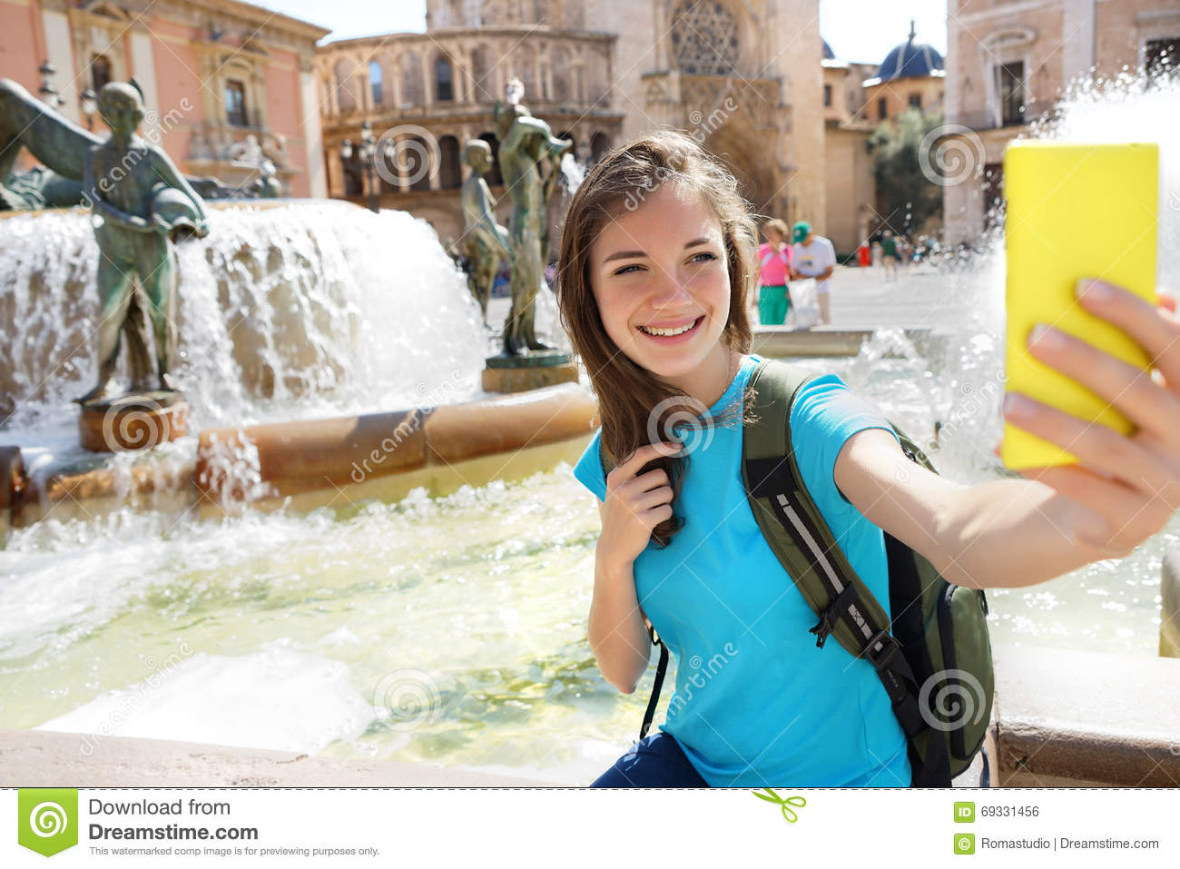 Europe Clipart - female-tourist-taking-selfie-leaning ... |Europe Tourist Taking