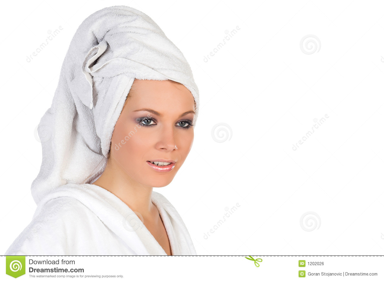 Woman with towel over hair