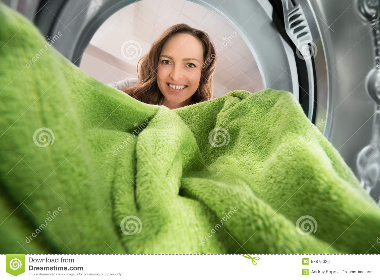 Woman With Towel View From Inside The Washing Machine