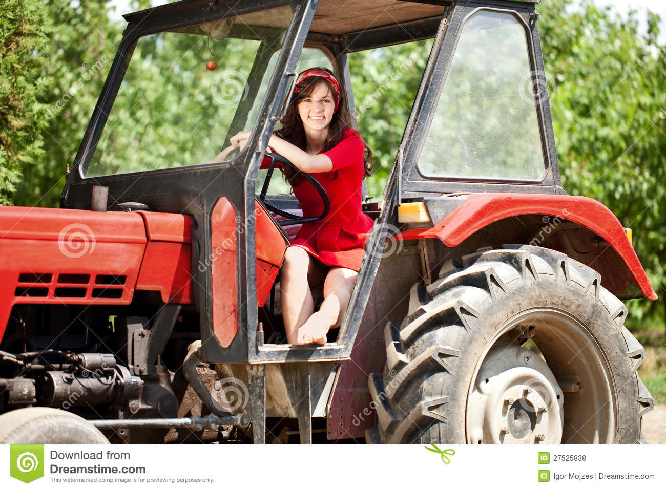 Woman On Tractor Royalty Free Stock Photos Image 27525838