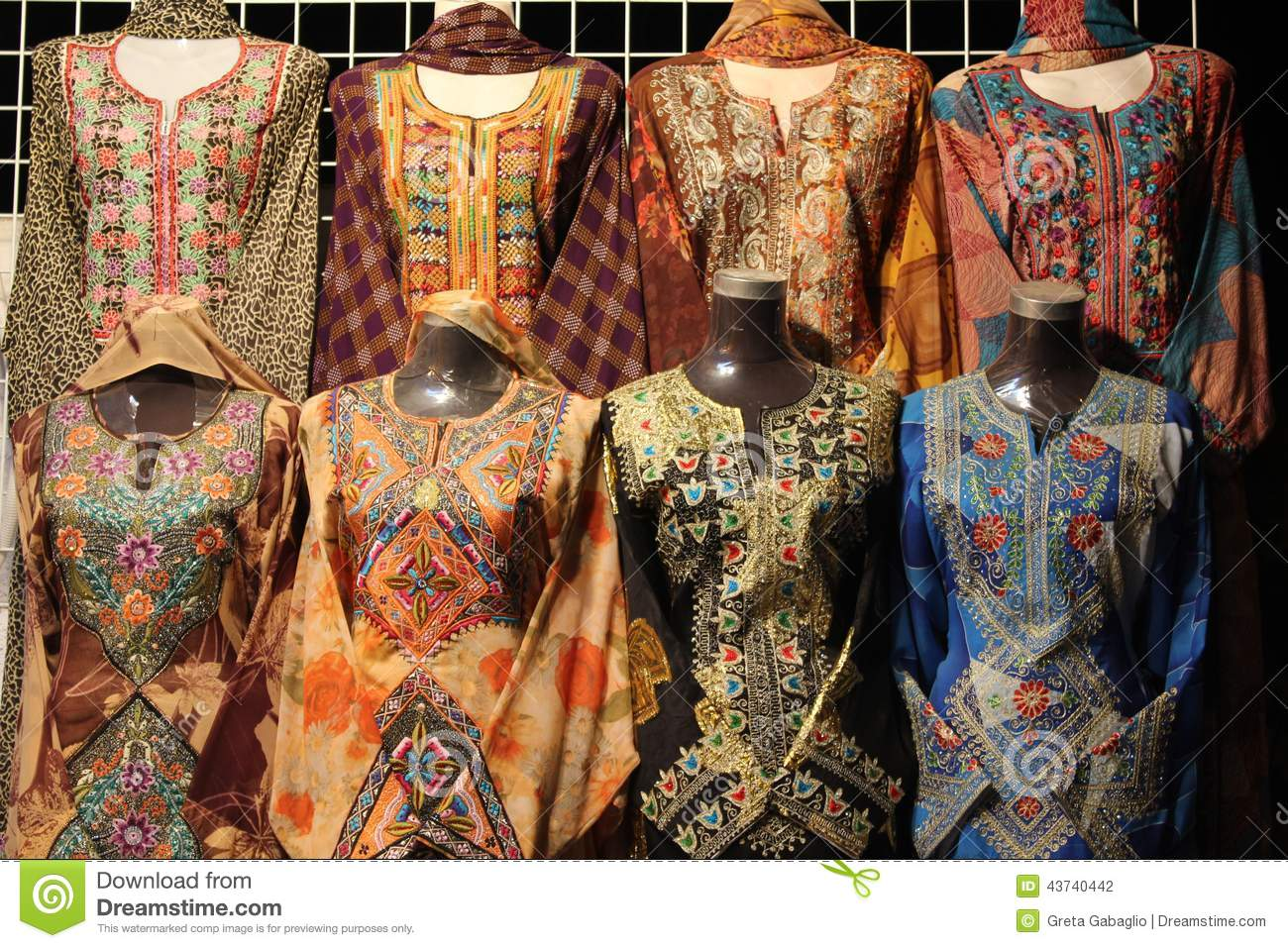 ... women omani dresses showed in a shop in Muscat, the Oman capital