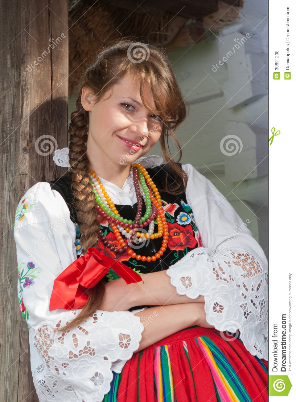 Woman In Traditional Polish Costume Royalty Free Stock