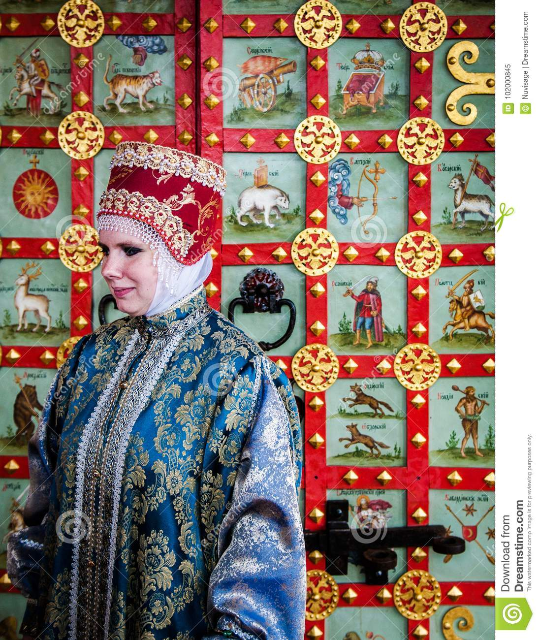 Woman In Traditional Russian Dress Editorial Image