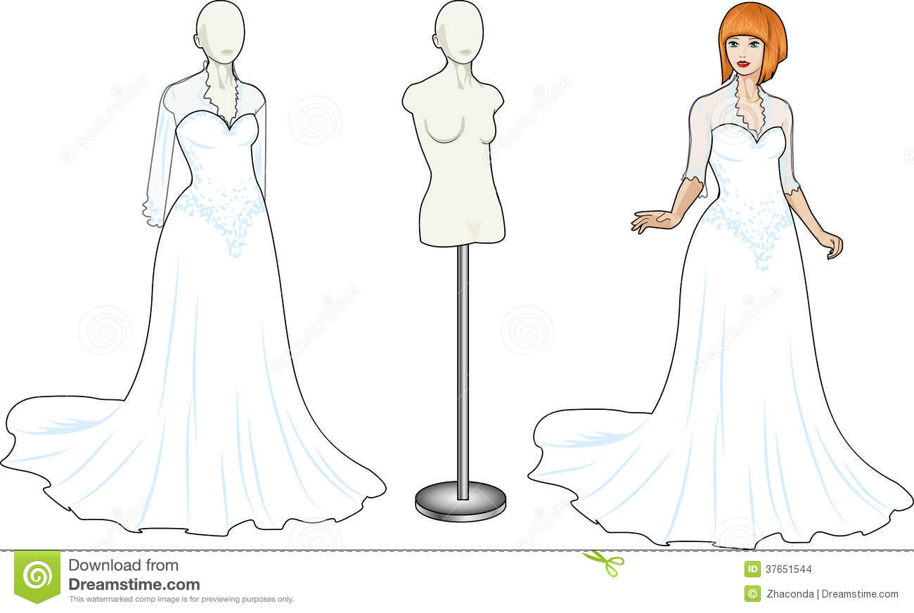 White Lacy Wedding Dress Cartoon