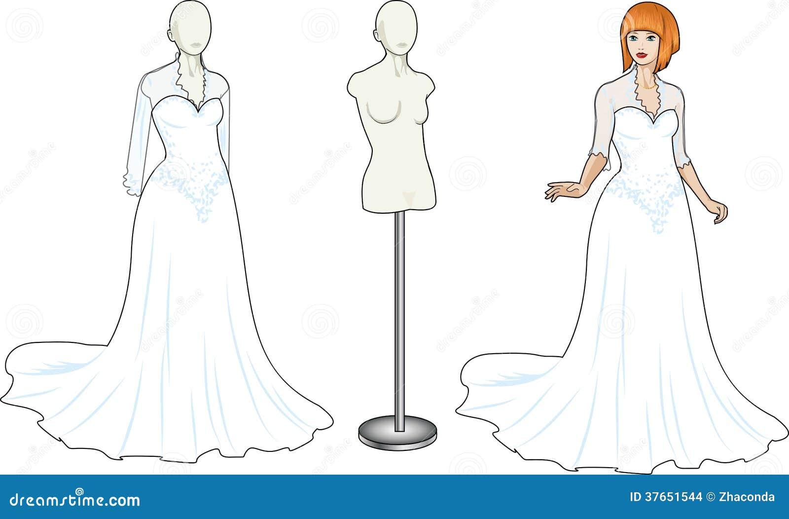 White Lacy Wedding Dress Cartoon