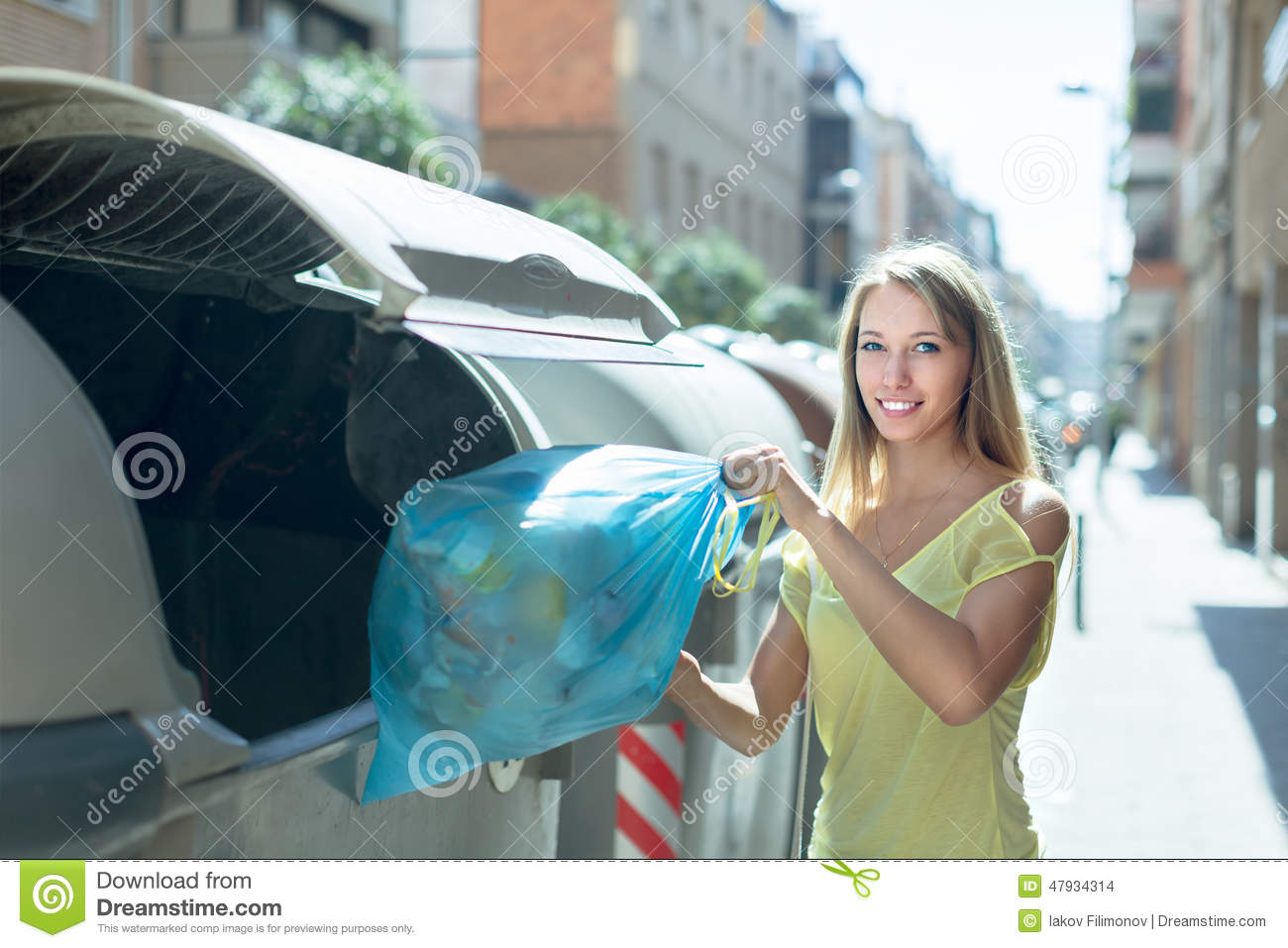https://thumbs.dreamstime.com/z/woman-trash-bags-near-garbage-bin-smiling-girl-rubbish-refuse-collection-container-47934314.jpg