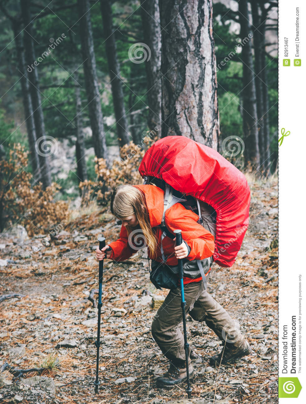 6adf9c17be Woman Traveler With Big Backpack Hiking In Wild Forest Stock Image ...