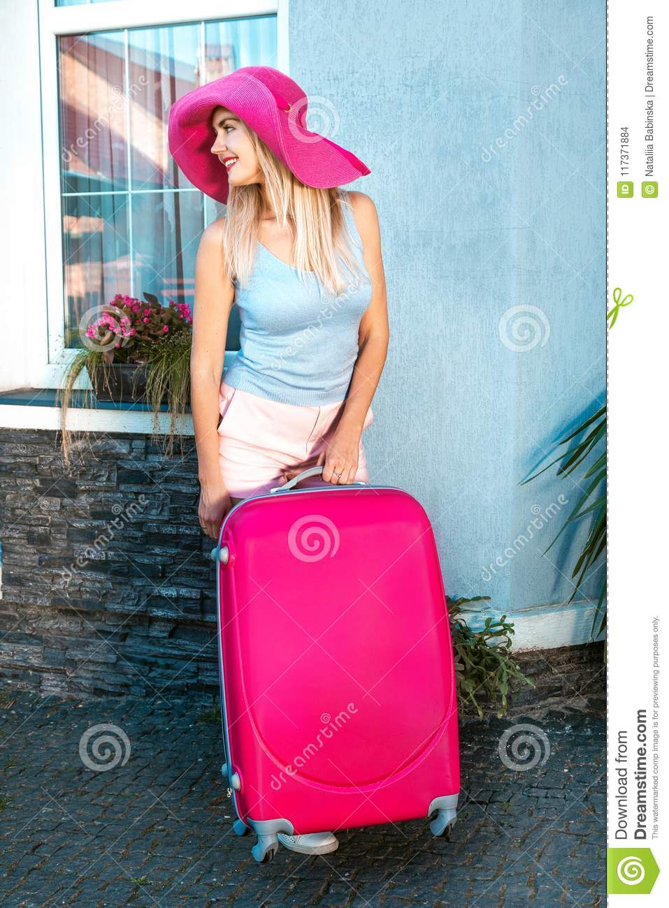 Pink Hat Blue Baggage Girl Woman Travel Suitcase Red Color ...