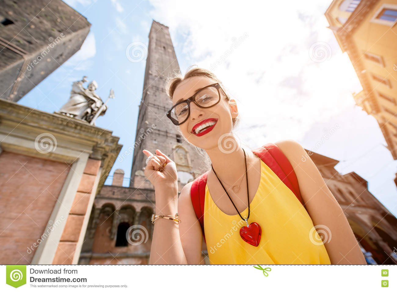 Woman traveling in Bologna city