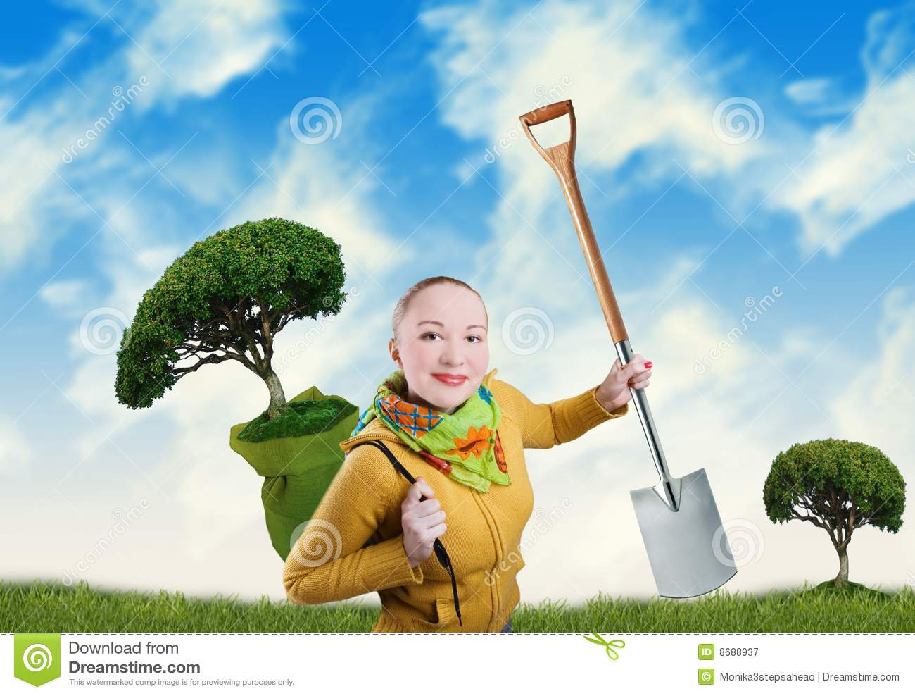 Woman with tree and spade