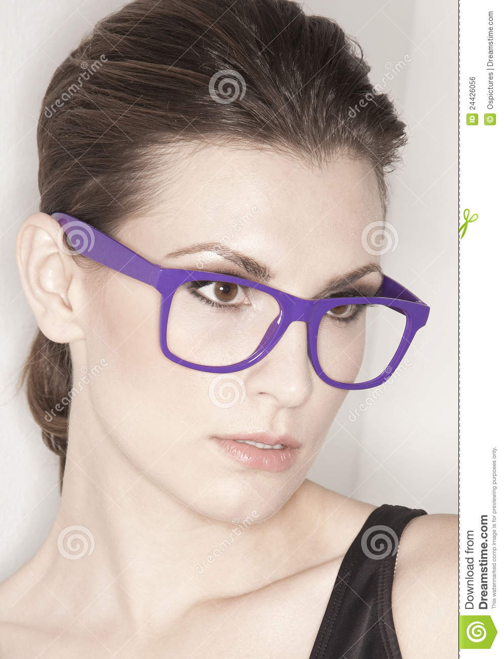 Woman With Trendy Glasses Stock Photo Image Of Single