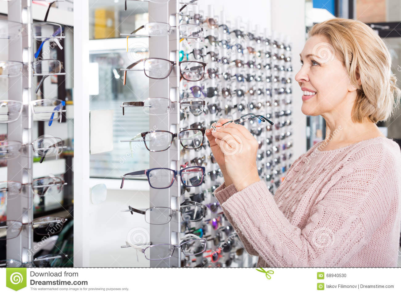 Woman Trying Spectacles Frames Stock Photo - Image of american ...