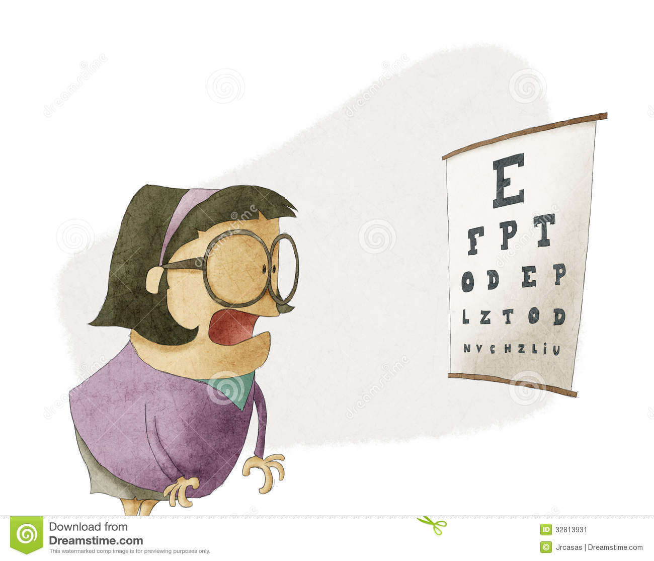 Woman Trying To See Letters On A Eyesight Test Chart Stock