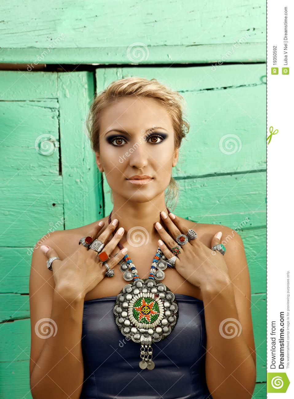 Woman With Turkish Ottoman Jewelry In The Street Stock