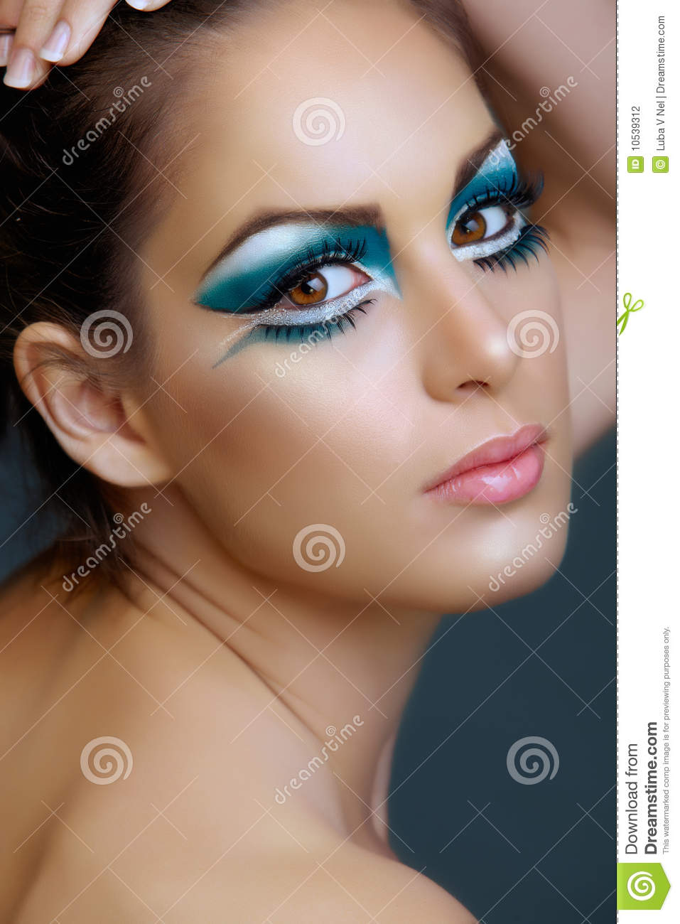 Woman With Turquoise Make Up Stock Photo Image Of Eyes