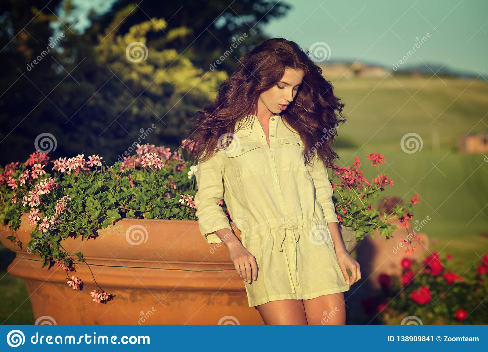 Woman in Tuscany garden
