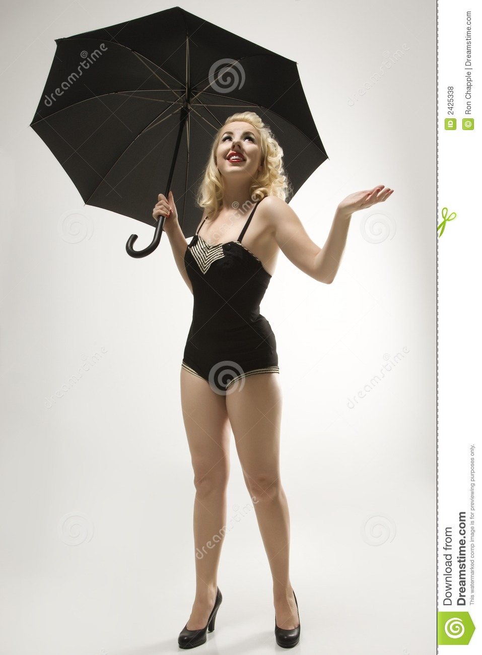 Woman With Umbrella Stock Photo Image Of Caucasian Studio 2425338