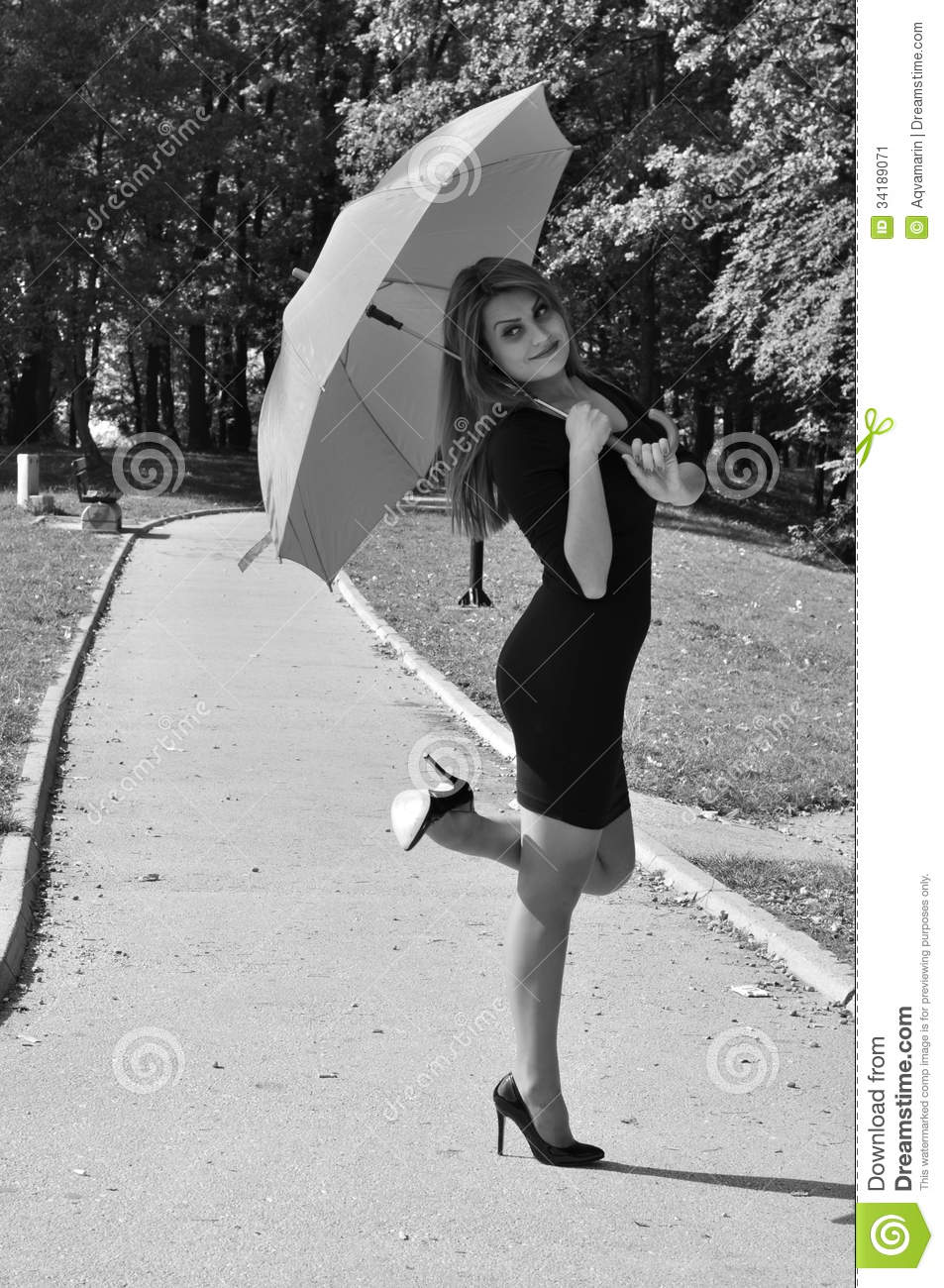 Woman With Umbrella Stock Image Image Of Dress Enjoying 34189071