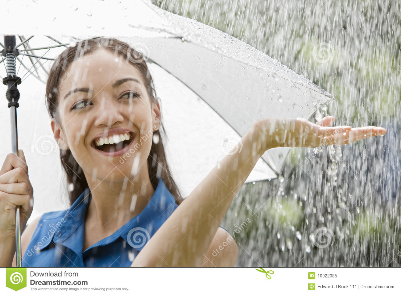 Woman With Umbrella In The Rain Stock Image - Image of ...