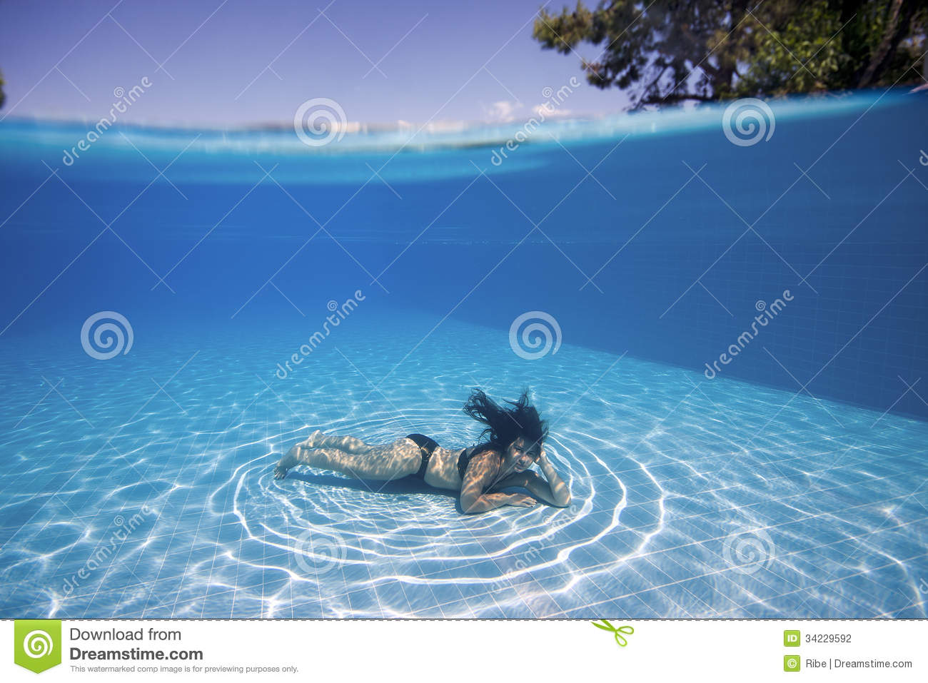 Woman Underwater In A Pool Stock Photo Image Of