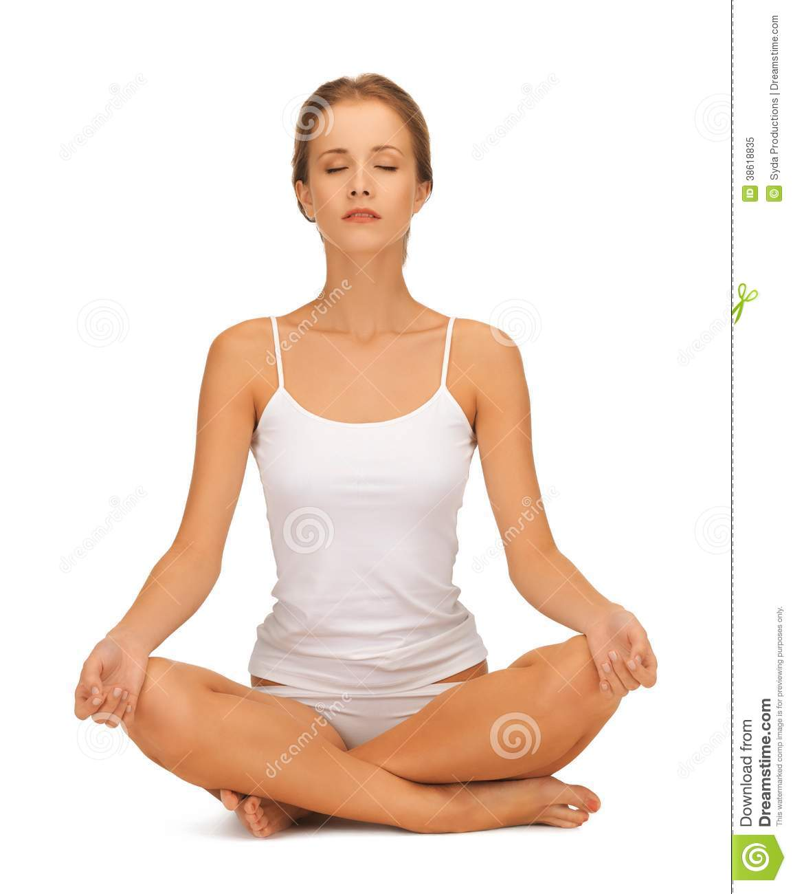 Woman In Undrewear Practicing Yoga Lotus Pose Stock Image ...