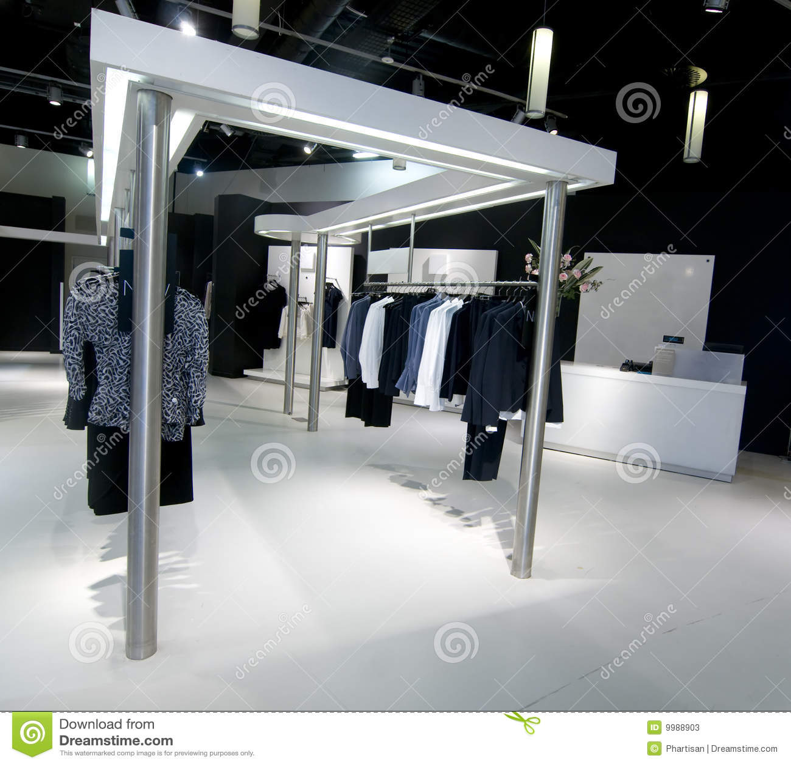 Woman upscale fashion retail store