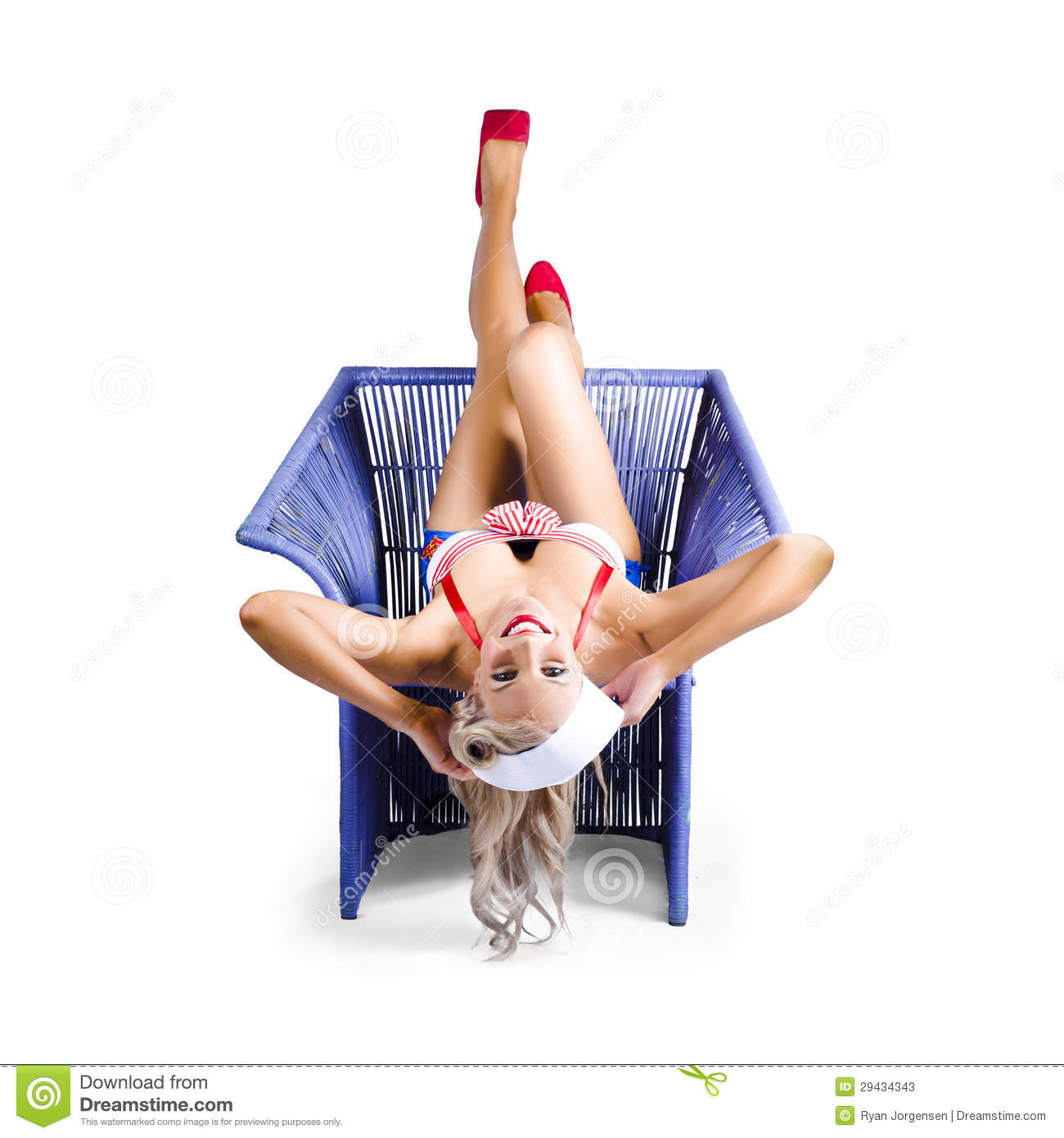 Talented Nude girl upside down chair