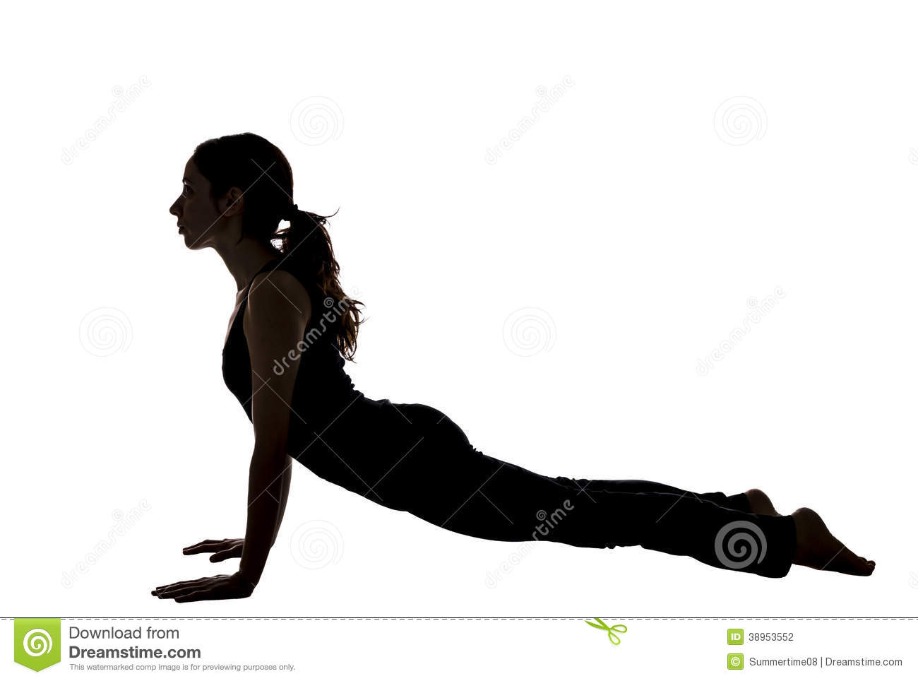 Woman In Upward Facing Dog, Yoga, Silhouette Stock Photo ...