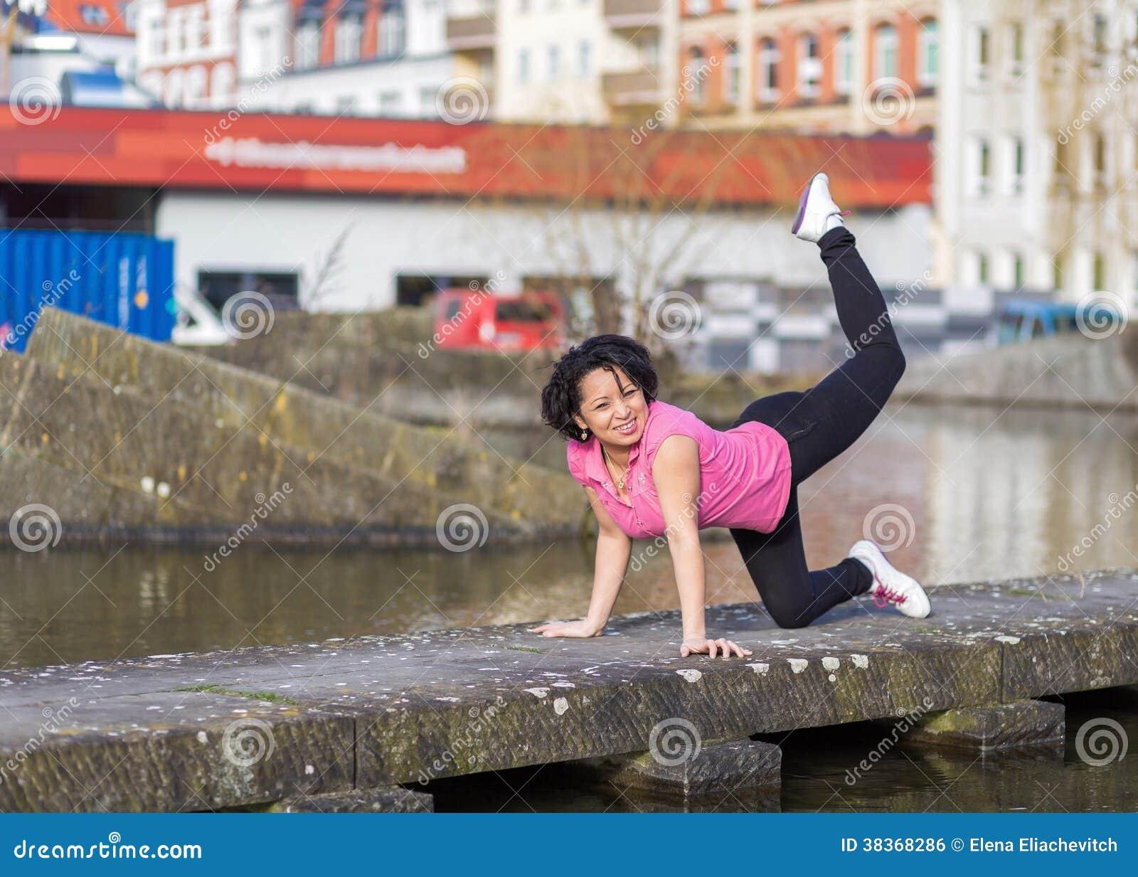 Woman urban sport exersising