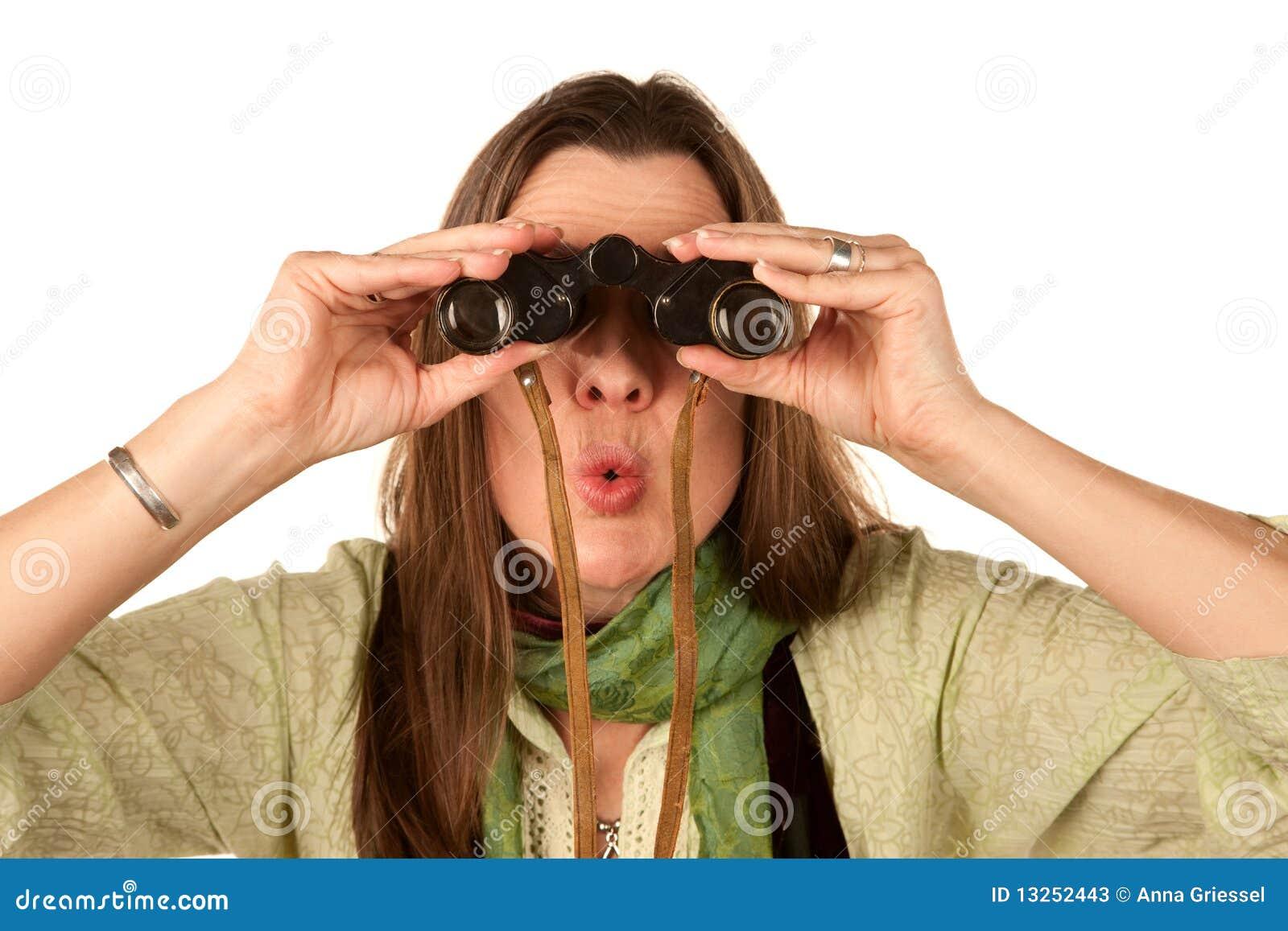 Woman Using Binoculars Stock Photos