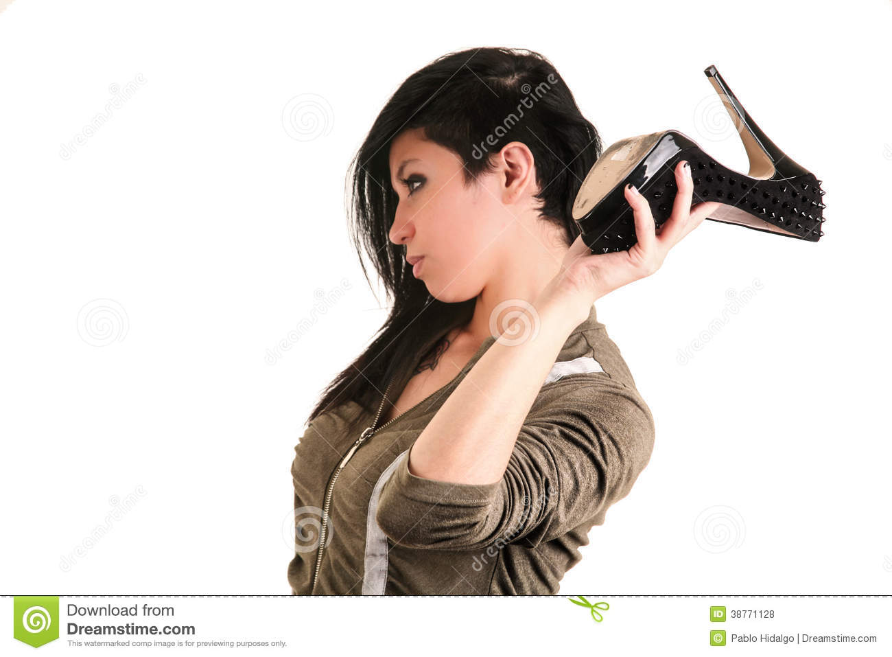 Woman Using A Heel Shoe As Weapon Stock Photo Image Of Discussion