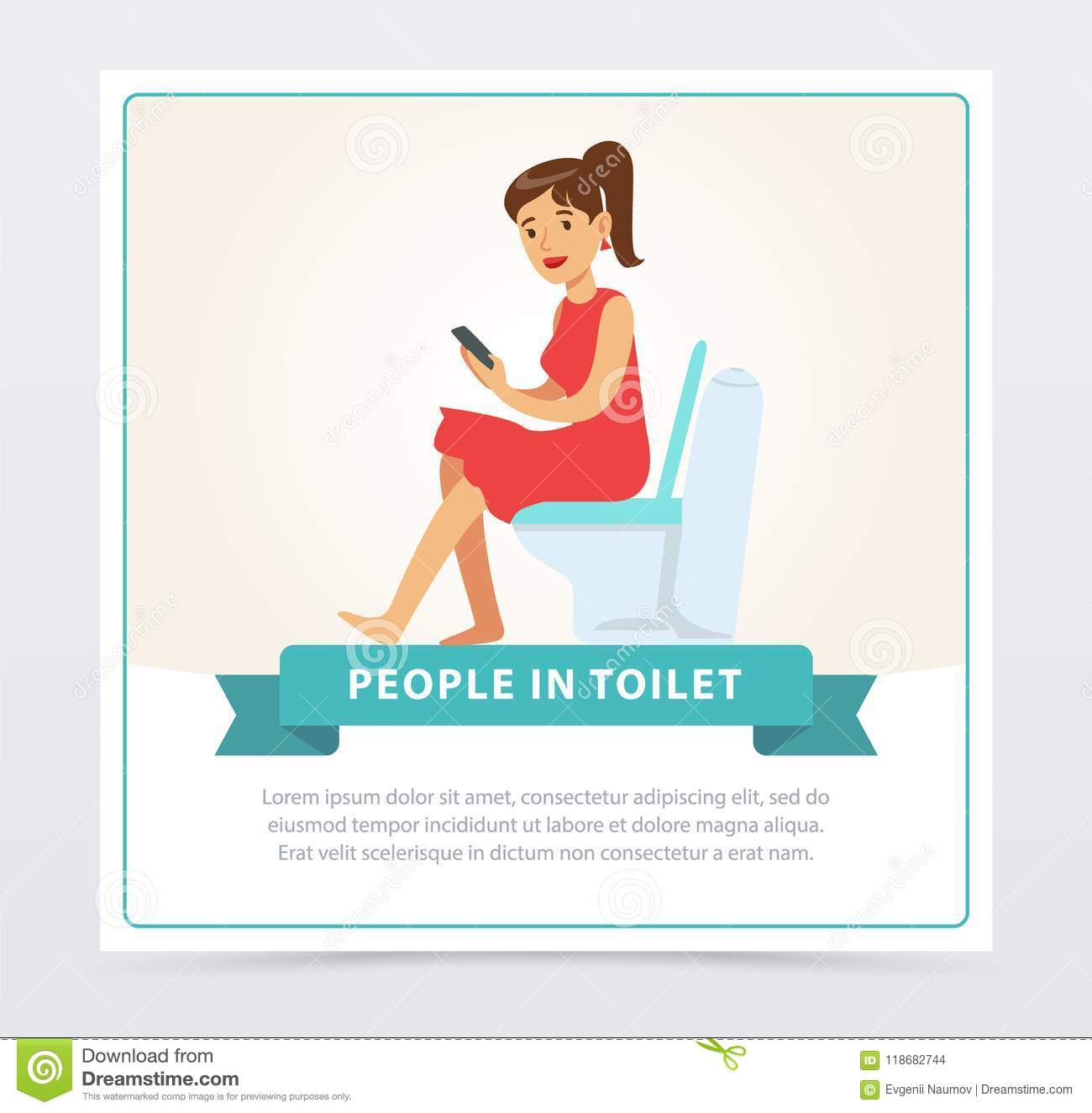 Woman Using Her Phone While Sitting On A Toilet, People In Toillet ...