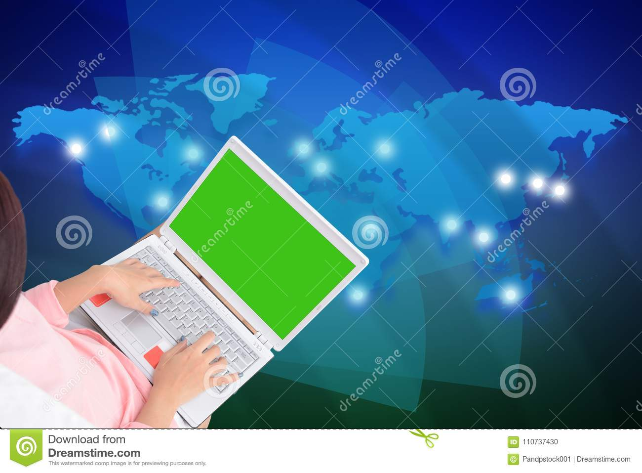 Woman using laptop computer with blue world map background stock royalty free stock photo gumiabroncs Images