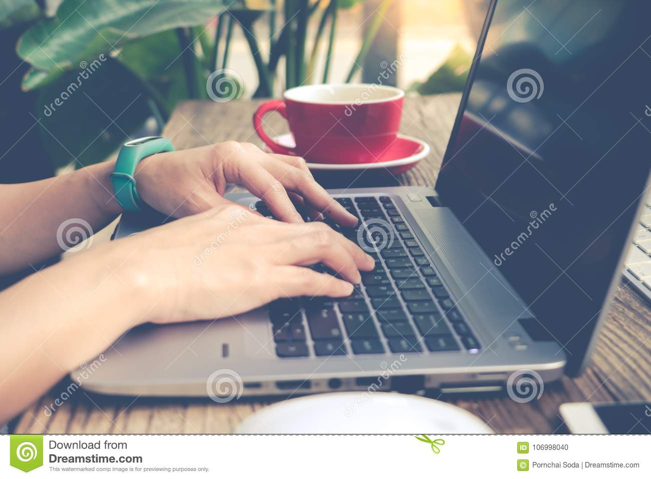Woman using laptop, searching, checking, browsing information at the coffee shop, matte and noise filter apply
