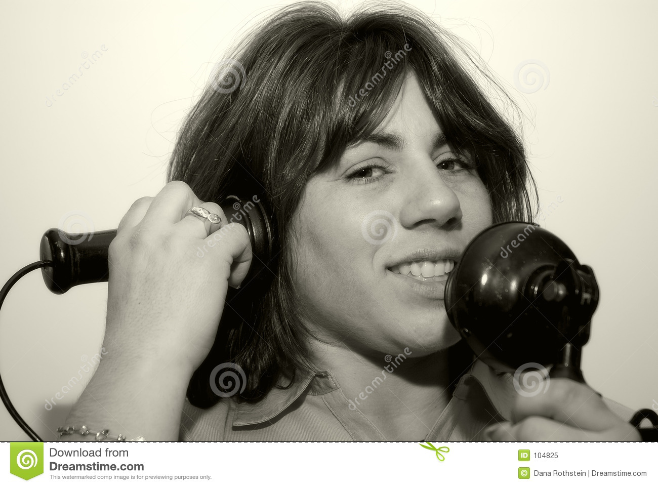 Download Woman Using A Vintage Phone Stock Image - Image of vintage, telephone: 104825