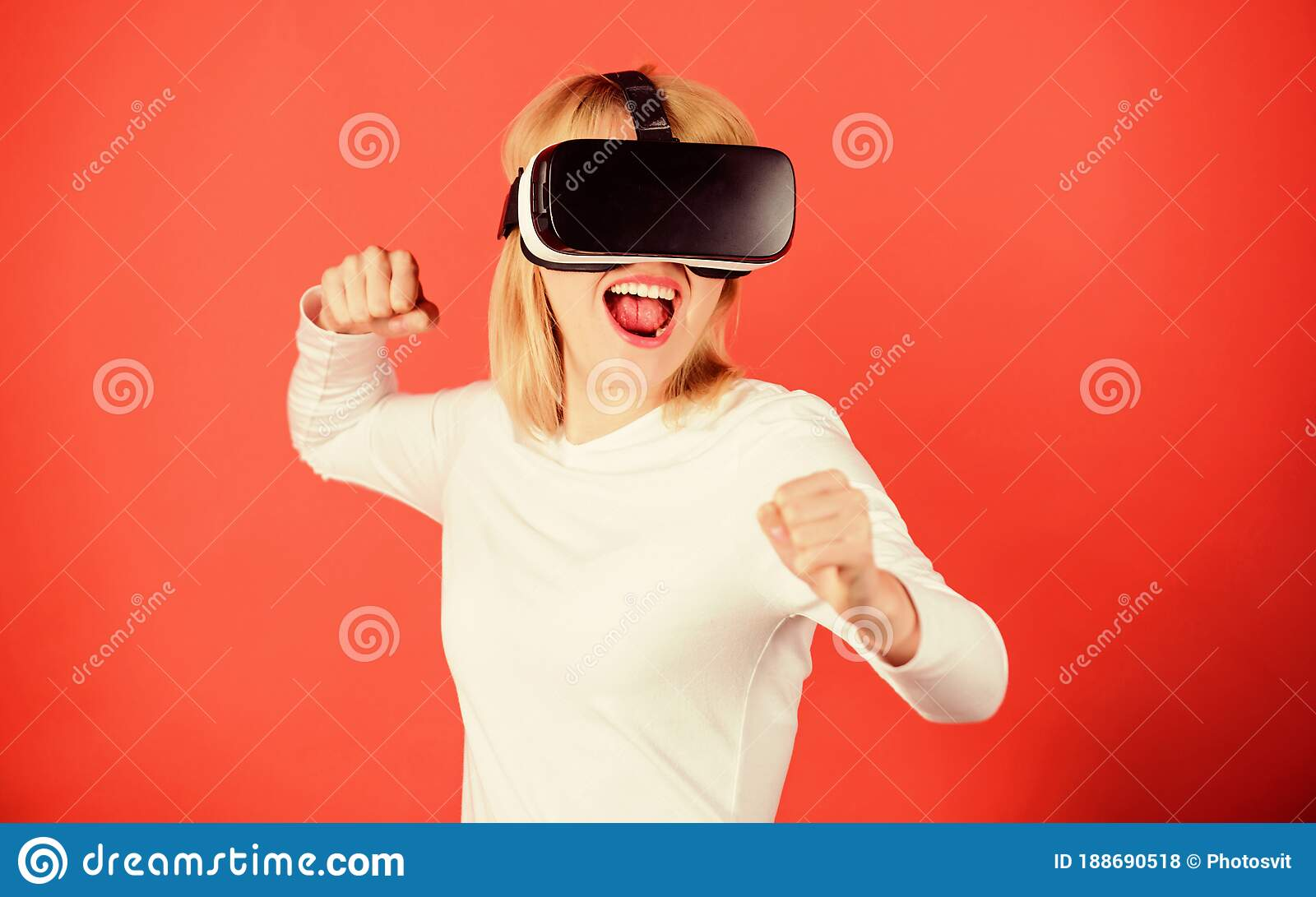 Woman using VR headset stock image. Image of gaming, head