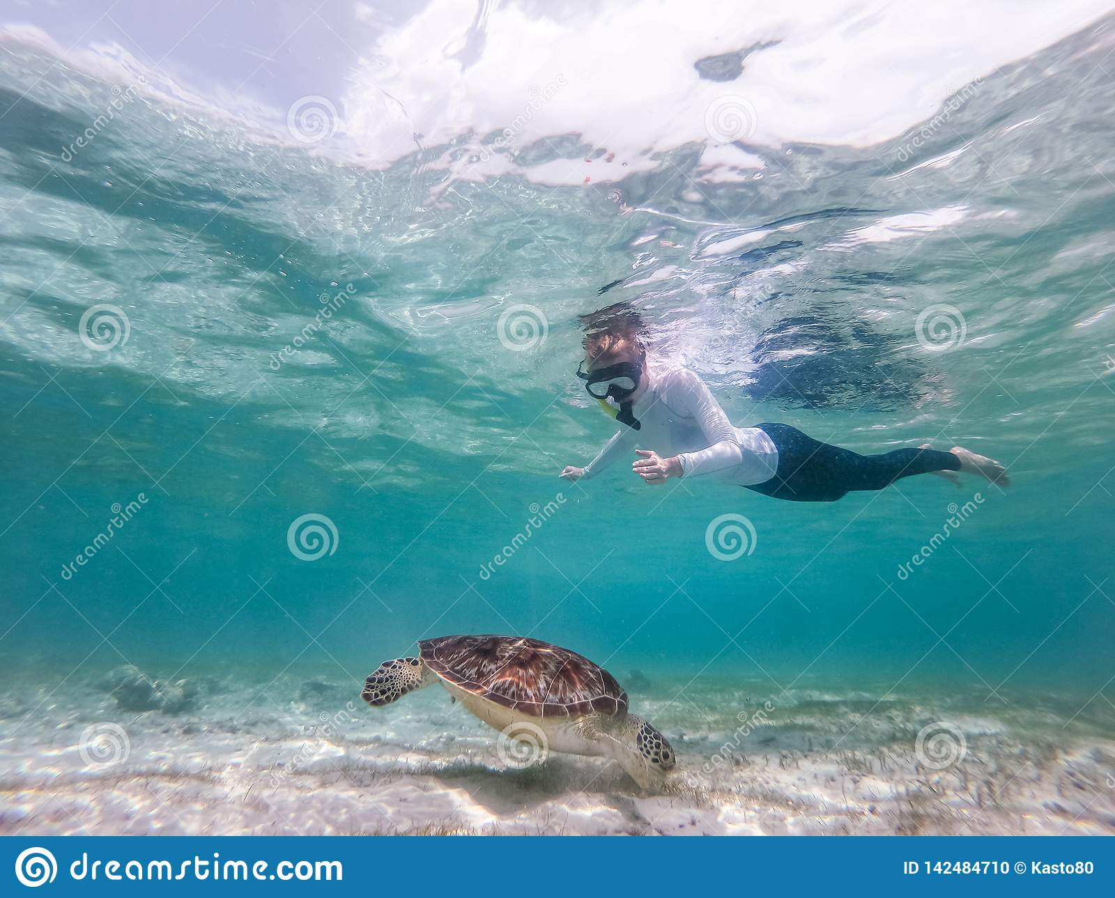 Woman on vacations wearing snokeling mask swimming with sea turtle in turquoise blue water of Gili islands, Indonesia