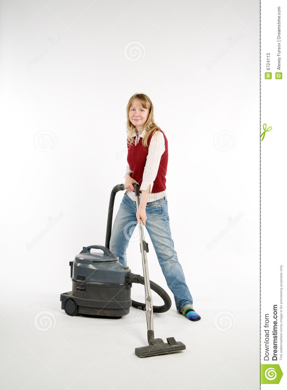 Woman With Vacuum Cleaner Stock Photos Image 6724113