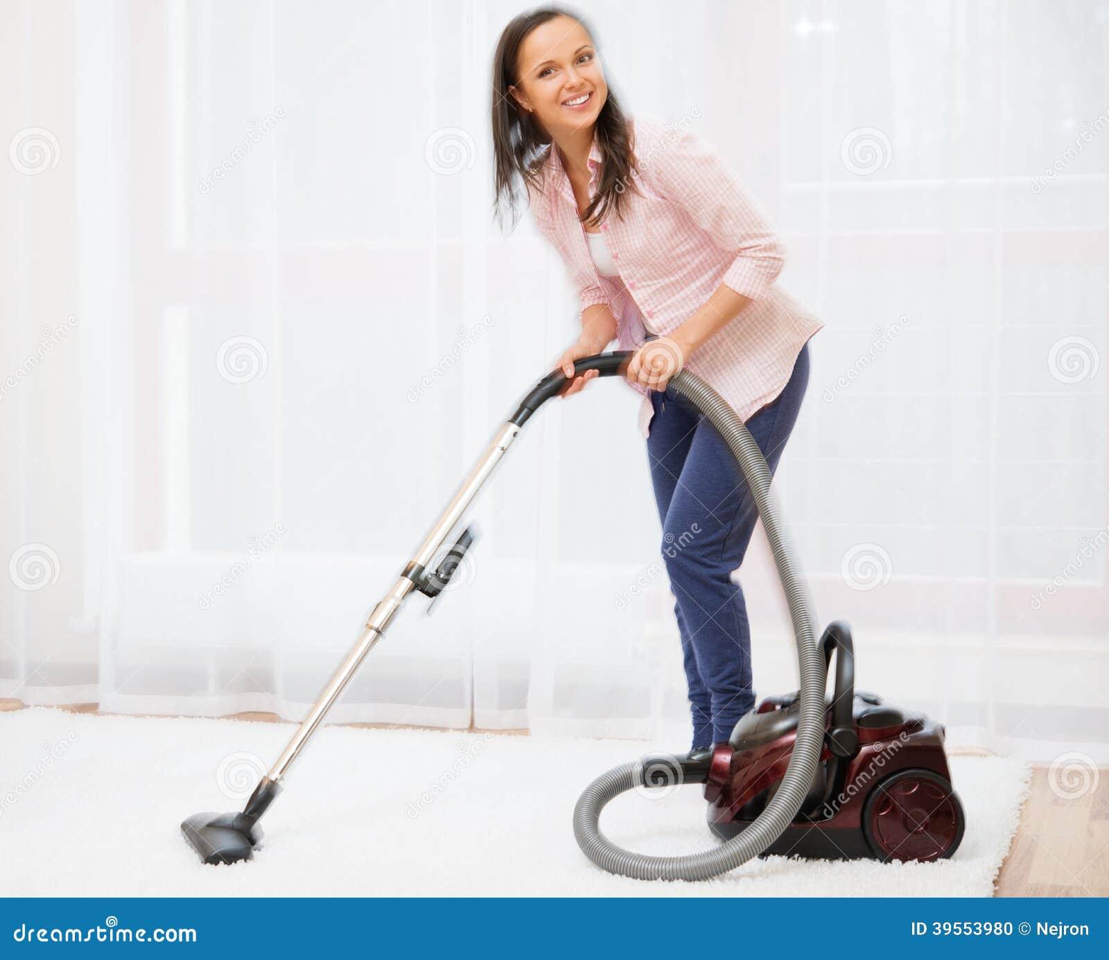 Woman Vacuum Cleaning Carpet Stock Photo Image 39553980