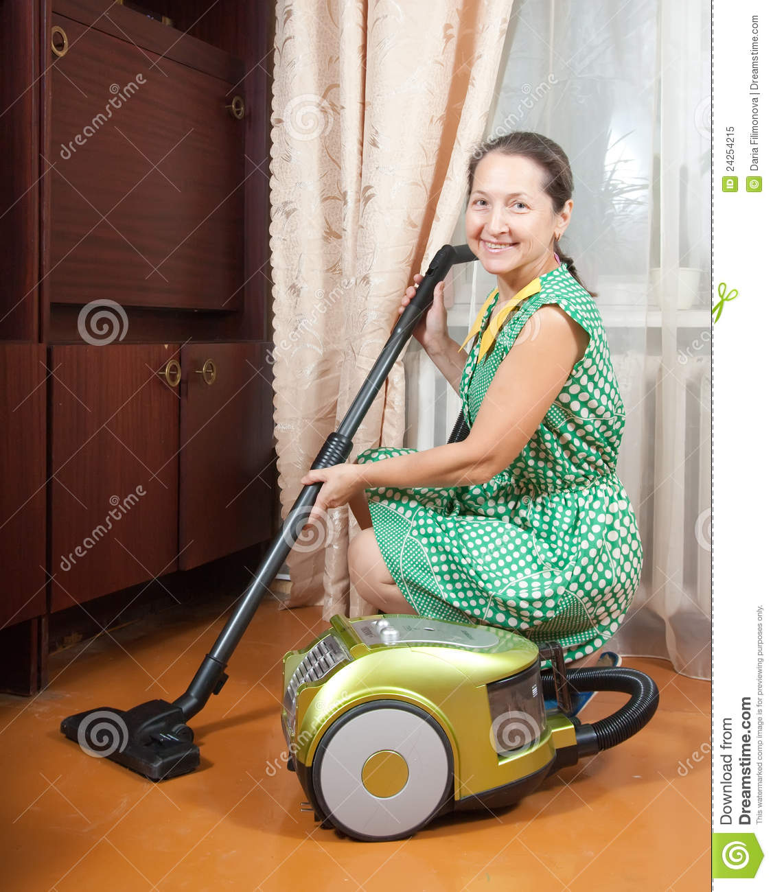 Woman Vacuuming Stock Image Image Of Cleaning Floor