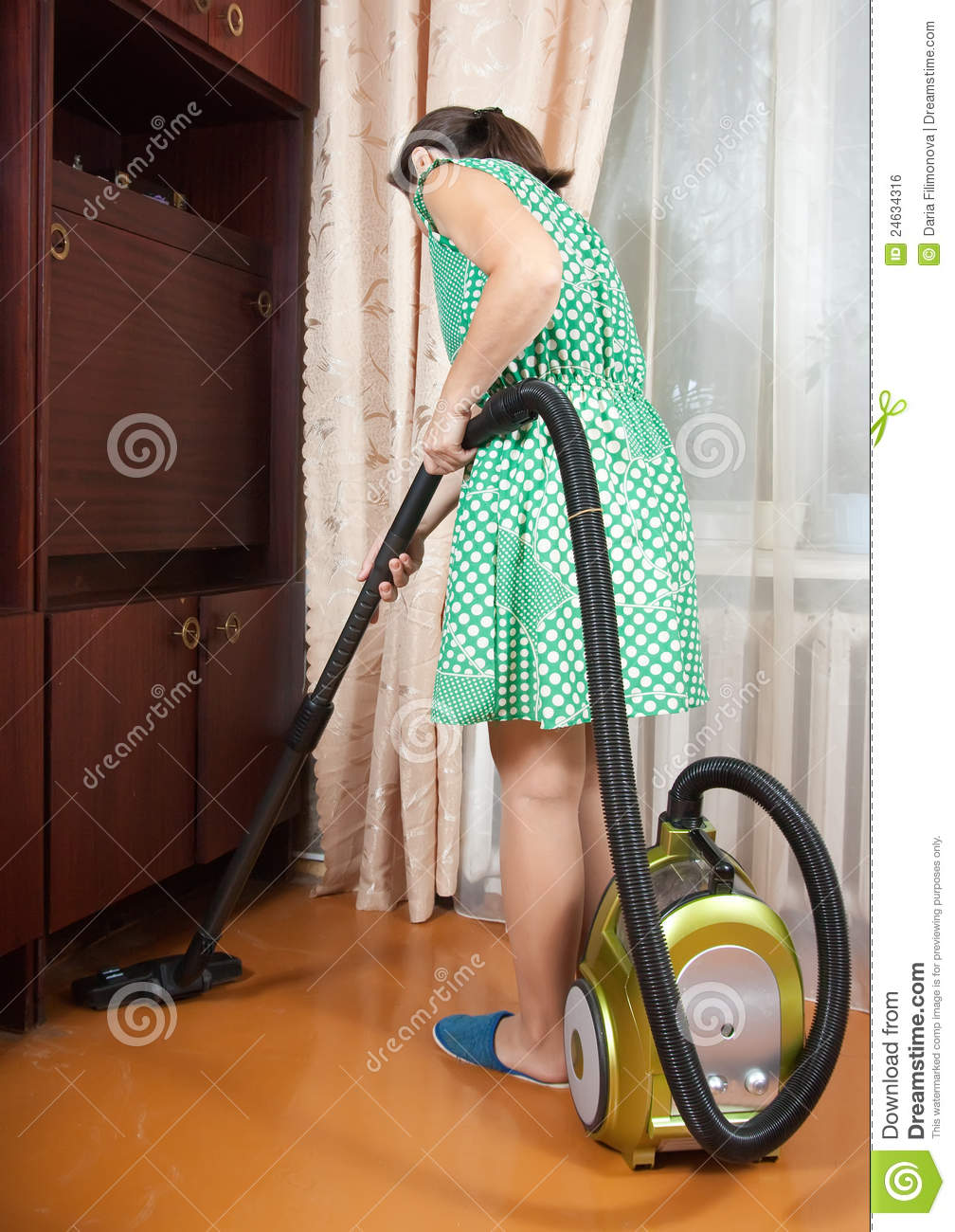 Woman Vacuuming Royalty Free Stock Image Image 24634316