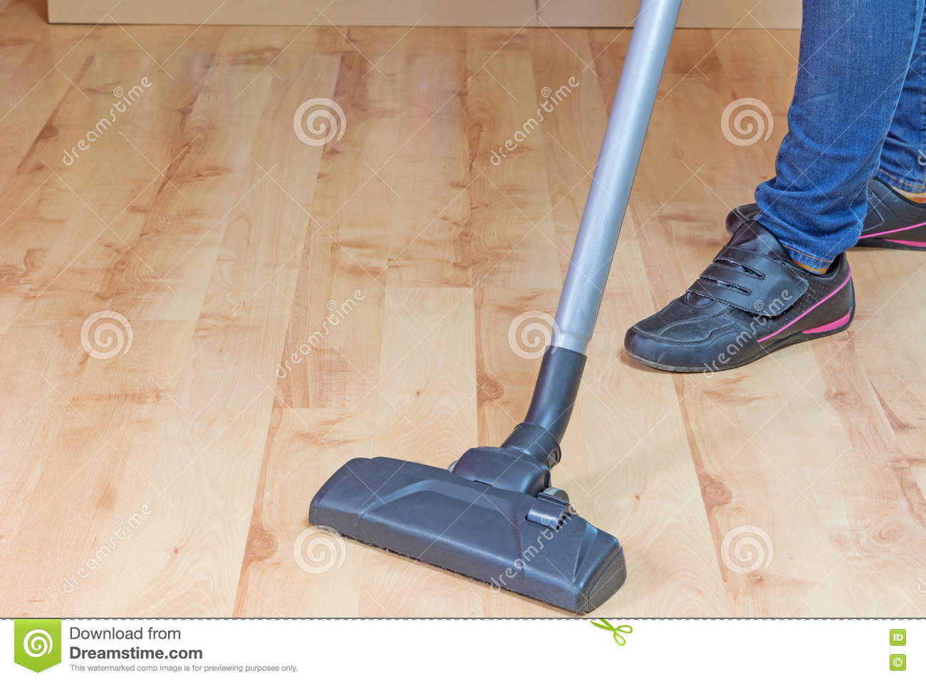 Woman Is Vacuuming Laminate Floor Stock Image Of Home 71410769