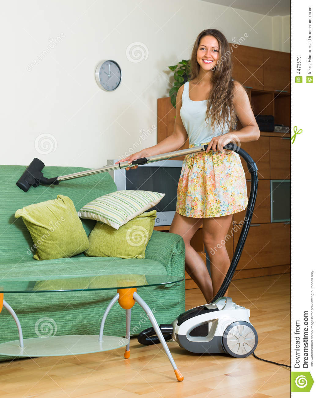 Woman Vacuuming Living Room Stock Image Image Of Interior Adult