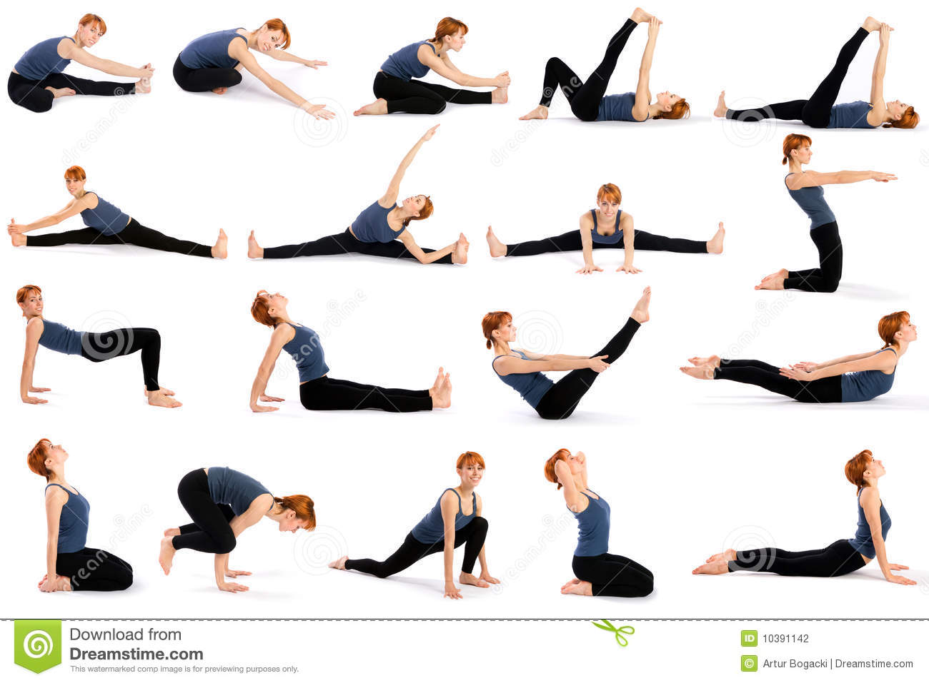 Woman In Various Sitting Yoga Poses